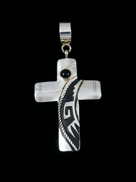 Native American Sterling Silver Overlay Onyx Cross Pendant