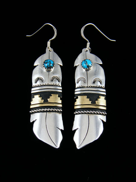 Sterling Silver and Gold Feather Turquoise Dangle Earrings