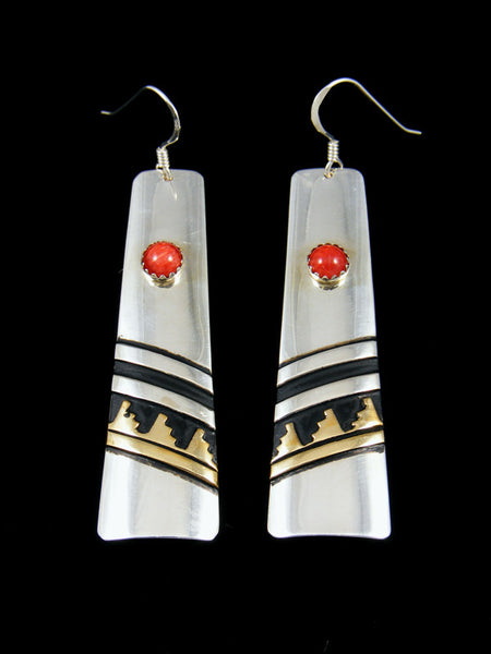 Navajo Sterling Silver and Gold Overlay Dangle Coral Earrings