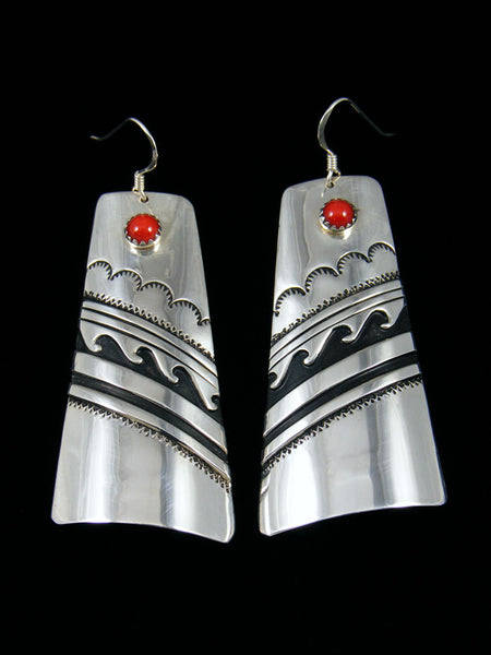 Navajo Sterling Silver Overlay Coral Dangle Earrings
