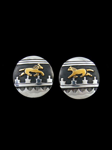 Navajo Sterling Silver and Gold Overlay Horse Post Earrings