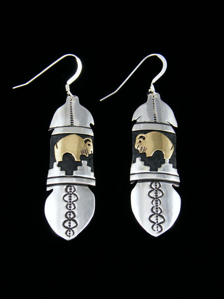 Navajo Sterling Silver and Gold Overlay Buffalo Dangle Earrings
