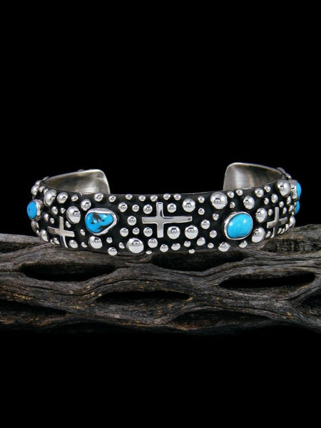 Native American Sterling Silver Droplet and Cross Turquoise Cuff Bracelet