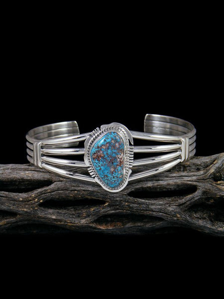 Native American Morenci Turquoise Sterling Silver Cuff Bracelet