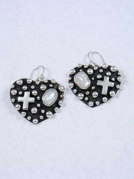 Native American Droplet and Cross Mother of Pearl Heart Dangle Earrings