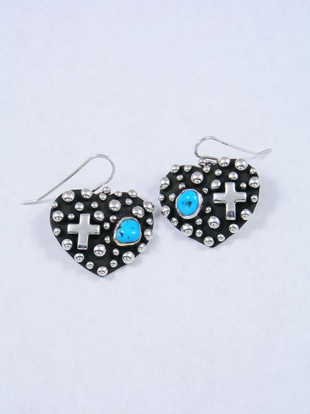 Native American Droplet and Cross Turquoise Heart Dangle Earrings