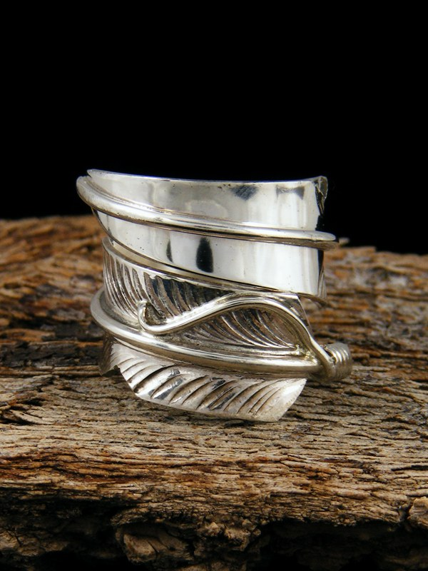 Sterling Silver Feather Ring Adjustable