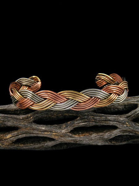 Navajo Braided Rope Copper and Sterling Silver Bracelet