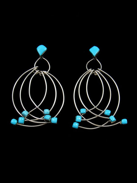 Native American Turquoise Curved Wire Zuni Post Earrings