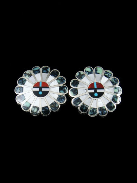 Zuni Inlay New Lander Turquoise Sunface Post Earrings