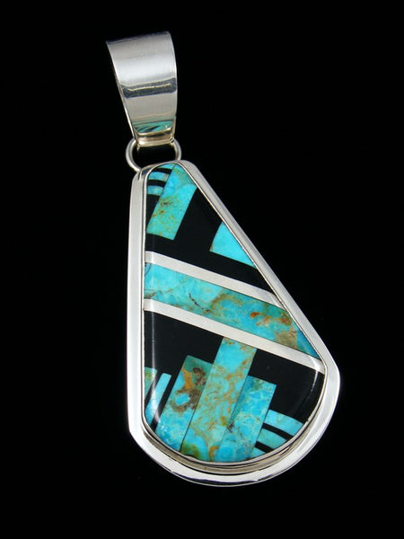 Native American Indian Santo Domingo Turquoise and Onyx Pendant