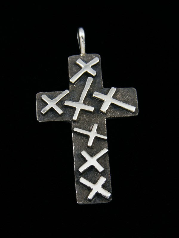 Native American Sterling Silver Navajo Overlay Cross Pendant