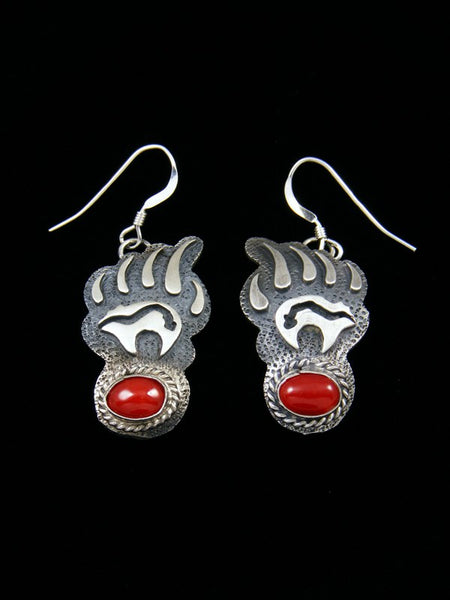 Navajo Bear Claw Overlay Dangle Coral Earrings