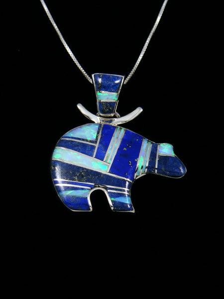 Native American Lapis and Opal Inlay Bear Pendant