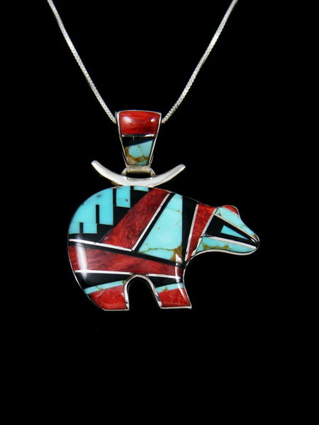 Native American Turquoise and Spiny Oyster Inlay Bear Pendant