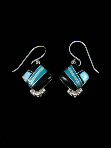 Native American Sterling Silver Onyx and Opal Inlay Earrings