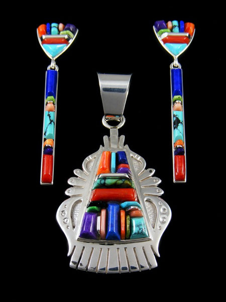 Native American Jewelry Turquoise Mosaic Inlay Pendant and Earrings Set
