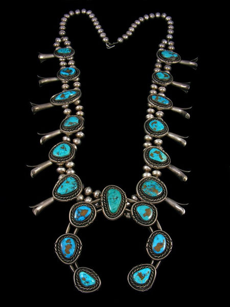 Old Pawn Sterling Silver Kingman Turquoise Squash Blossom Necklace