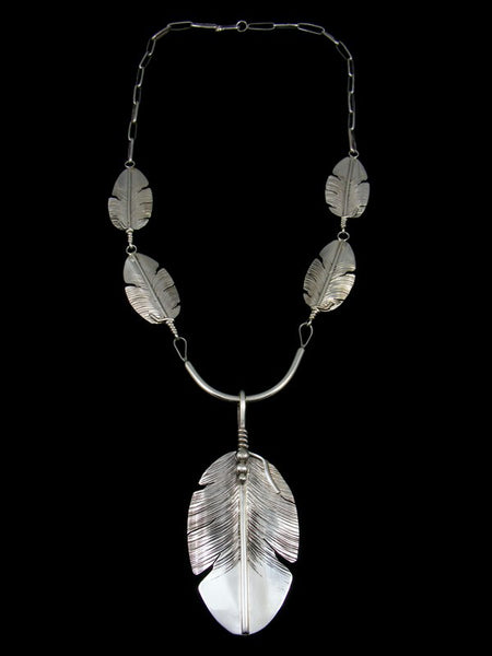 Navajo Sterling Silver Link Chain Feather Necklace