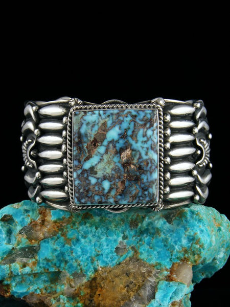 Navajo Indian Sterling Silver Godber Dry Creek Turquoise Cuff Bracelet