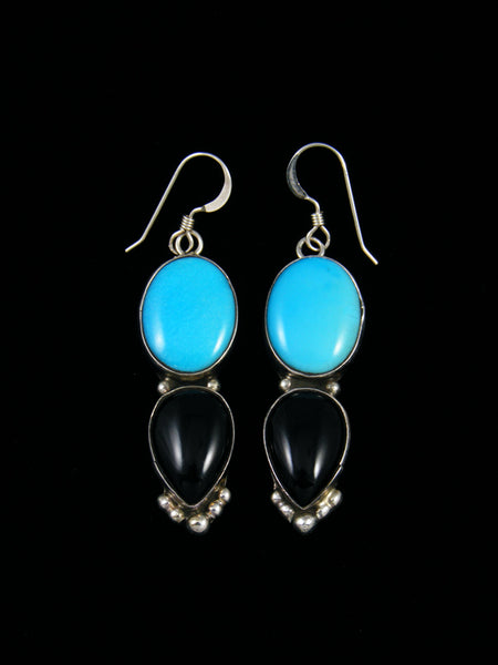 Turquoise and Onyx Navajo Dangle Earrings