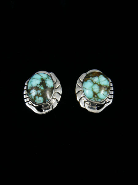#8 Turquoise Sterling Silver Post Earrings