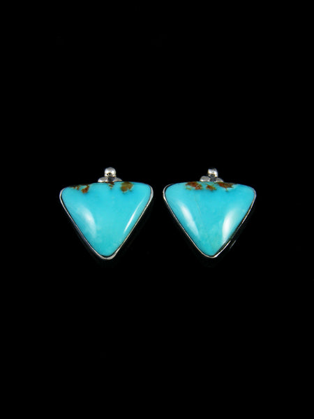 Navajo Turquoise Mountain Sterling Silver Post Earrings