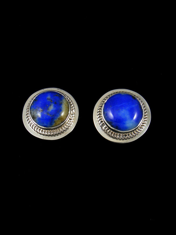 Navajo Lapis Sterling Silver Post Earrings