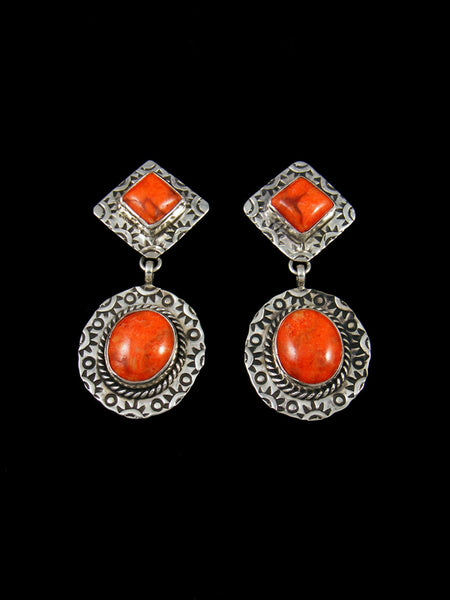 Stamped Sterling Silver Navajo Apple Coral Dangle Earrings