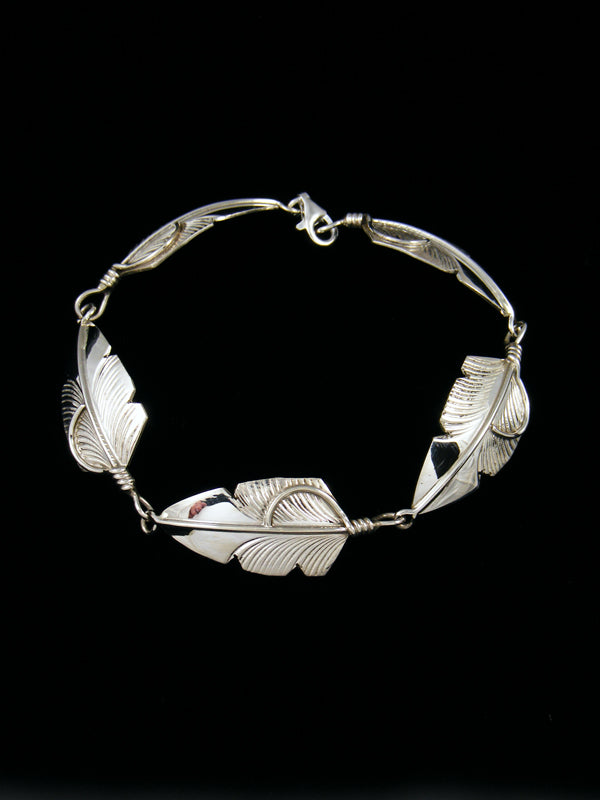 Native American Indian Jewelry Sterling Silver Feather Link Bracelet
