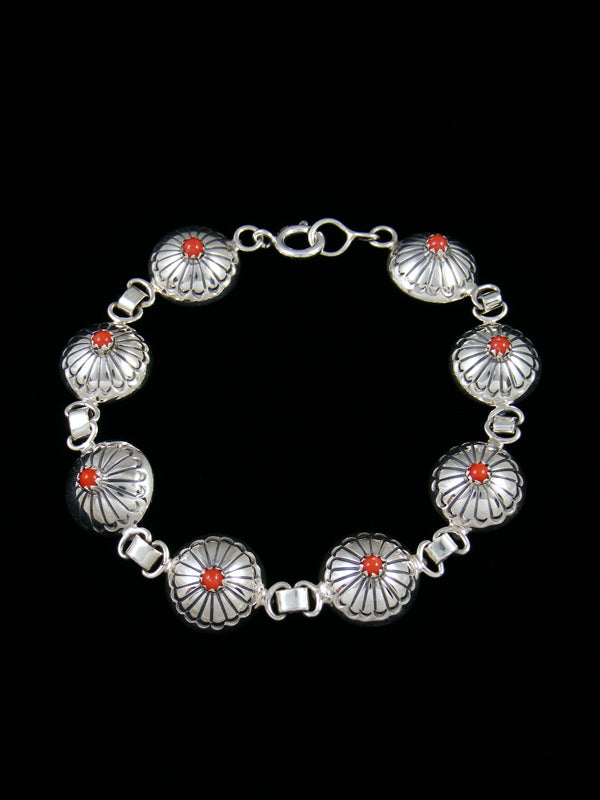 Native American Coral Stamped Sterling Silver Bracelet