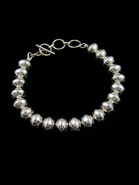 Native American Sterling Silver Bead Bracelet