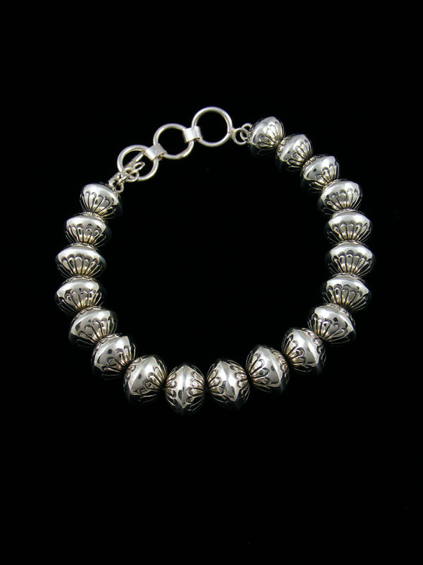 Native American Stamped Sterling Silver Bead Bracelet