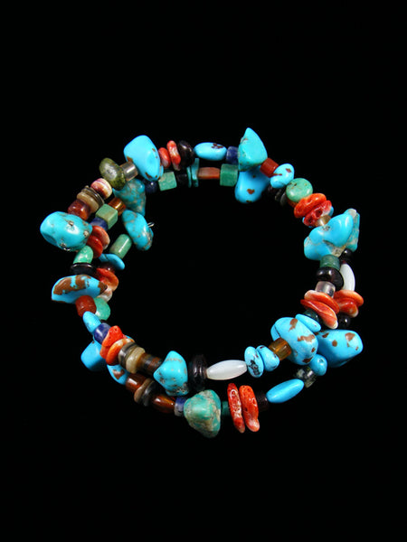 Native American Turquoise and Spiny Oyster Bead Wrap Bracelet