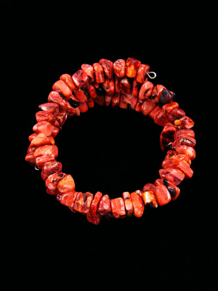 Native American Bamboo Coral Bead Wrap Bracelet