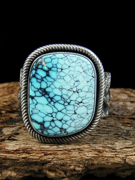 Native American Sterling Silver Tufa Cast Turquoise Ring Size 11 1/2