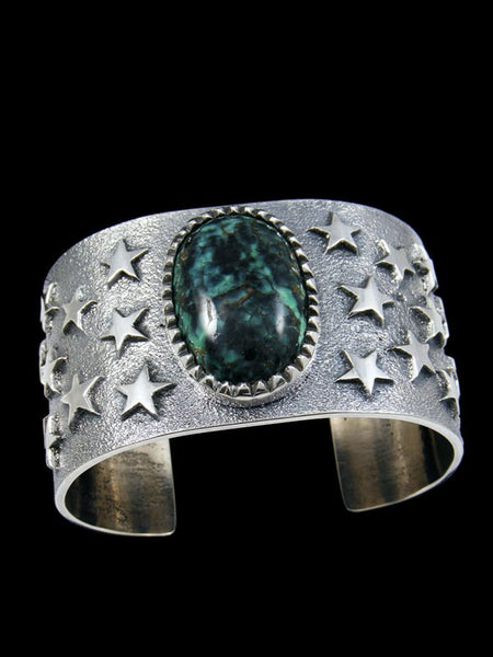 Native American Tufa Cast Sterling Silver Turquoise Bracelet