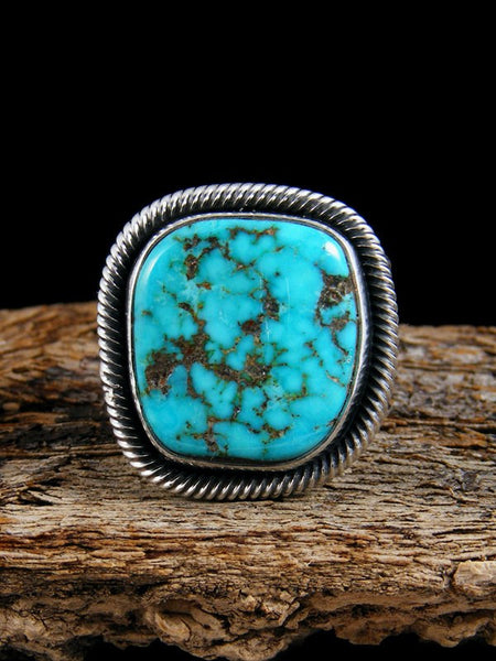Native American Sterling Silver Tufa Cast Turquoise Ring Size 7