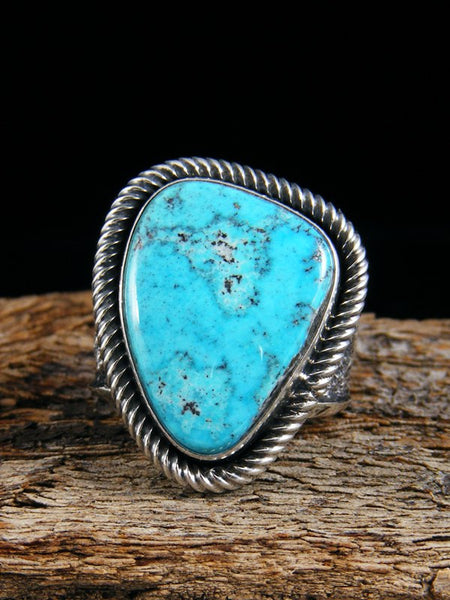 Navajo Sterling Silver Tufa Cast Turquoise Ring Size 7 1/2