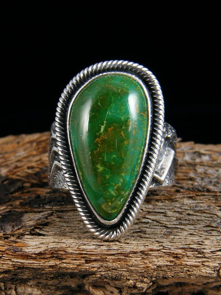 Native American Sterling Silver Tufa Cast Turquoise Ring Size 8 1/2