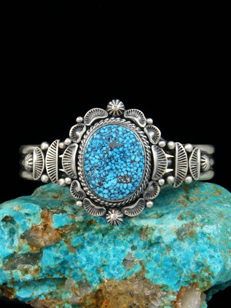 Native American Natural Kingman Black Web Turquoise Bracelet