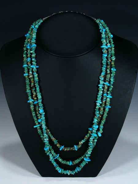Native American Triple Strand Lone Mountain Turquoise Necklace