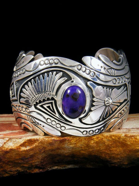 Native American Indian Jewelry Sterling Silver Sugilite Bracelet by Marita Benally - PuebloDirect.com - 1