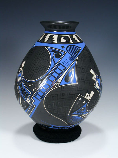 Mata Ortiz Hand Coiled Blue Paquime Pottery