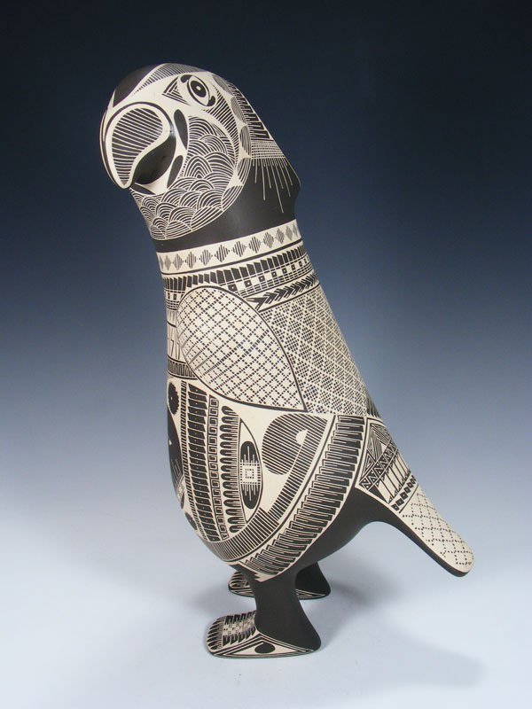 Mata Ortiz Hand Coiled Parrot Effigy Pottery