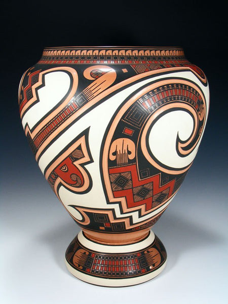 Mata Ortiz Hand Coiled Pottery With Stand