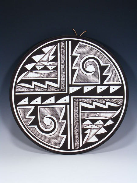 Acoma Pueblo Pottery Painted Geometric Designs Plate