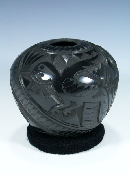 Mata Ortiz Hand Coiled Black Carved Pottery Seed Pot