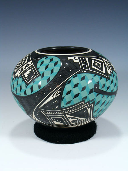 Mata Ortiz Hand Coiled Black Pottery Seed Pot