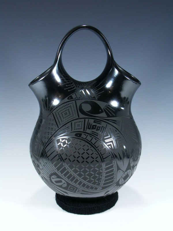 Mata Ortiz Hand Coiled Black Pottery Wedding Vase